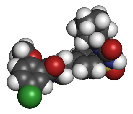 beta cells: Glibenclamide (glyburide) diabetes drug molecule. 3D rendering. Atoms are represented as spheres with conventional color coding: hydrogen (white), carbon (grey), nitrogen (blue), oxygen (red), sulfur (yellow), chlorine (green). Stock Photo