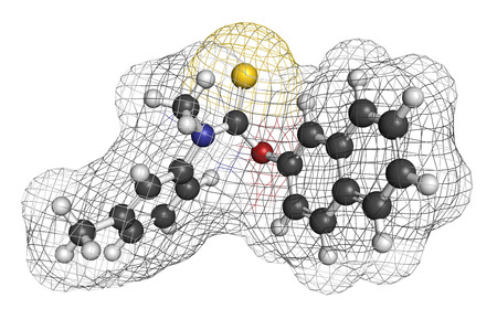 foot fungus: Tolnaftate antifungal drug molecule. 3D rendering. Atoms are represented as spheres with conventional color coding: hydrogen (white), carbon (grey), nitrogen (blue), oxygen (red), sulfur (yellow).
