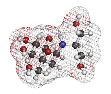 hyperglycemia: Voglibose diabetes drug molecule. 3D rendering. Atoms are represented as spheres with conventional color coding: hydrogen (white), carbon (grey), nitrogen (blue), oxygen (red).