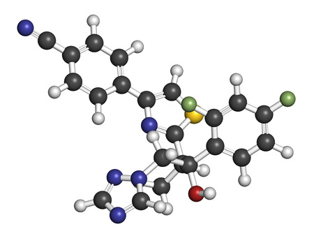 nitrogen: Ravuconazole antifungal drug molecule. 3D rendering. Atoms are represented as spheres with conventional color coding: hydrogen (white), carbon (grey), nitrogen (blue), oxygen (red), sulfur (yellow), fluorine (light green).