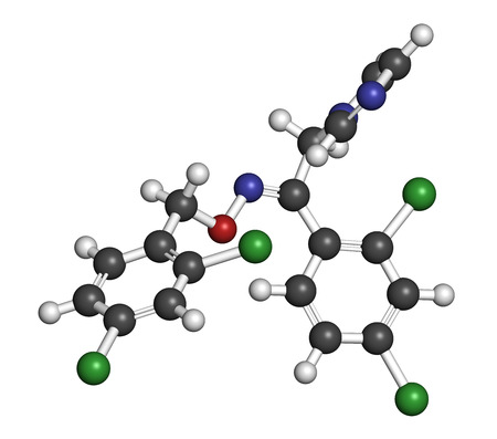 candida: Oxiconazole antifungal drug molecule. 3D rendering. Atoms are represented as spheres with conventional color coding: hydrogen (white), carbon (grey), nitrogen (blue), oxygen (red), chlorine (green). Stock Photo