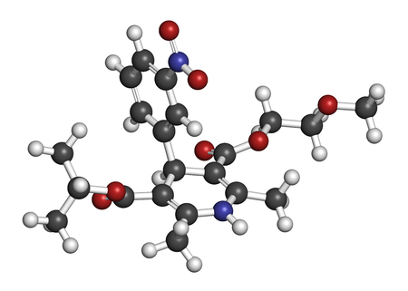 nitrogen: Nimodopine vasospasm drug molecule. 3D rendering. Atoms are represented as spheres with conventional color coding: hydrogen (white), carbon (grey), oxygen (red), nitrogen (blue).