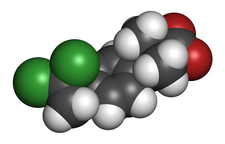 Ciprofibrate hyperlipidemia drug molecule (fibrate class). 3D rendering. Atoms are represented as spheres with conventional color coding: hydrogen (white), carbon (grey), oxygen (red), chlorine (green).