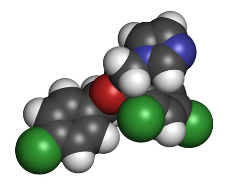 vaginal: Econazole antifungal drug molecule. 3D rendering. Atoms are represented as spheres with conventional color coding: hydrogen (white), carbon (grey), nitrogen (blue), oxygen (red), chlorine (green).