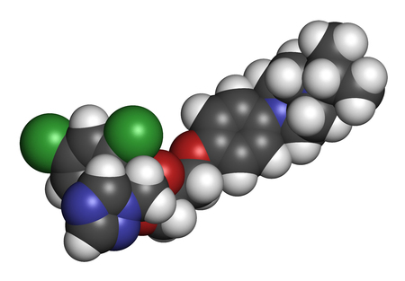 3d nitrogen: Terconazole antifungal drug molecule. 3D rendering. Atoms are represented as spheres with conventional color coding: hydrogen (white), carbon (grey), nitrogen (blue), oxygen (red), chlorine (green). Stock Photo