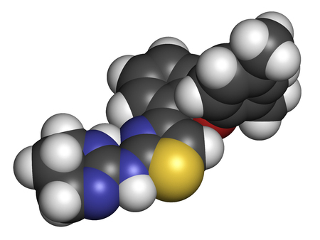3d nitrogen: Abafungin antifungal drug molecule. 3D rendering. Atoms are represented as spheres with conventional color coding: hydrogen (white), carbon (grey), nitrogen (blue), oxygen (red), sulfur (yellow).