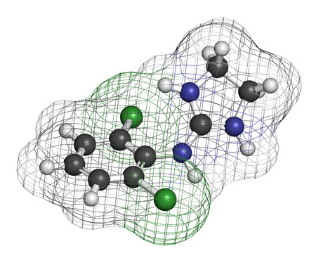 Clonidine drug molecule. Used in treatment of ADHD, hypertension, migraine, anxiety disorders, etc. 3D rendering. Atoms are represented as spheres with conventional color coding: hydrogen (white), carbon (grey), nitrogen (blue), chlorine (green). Stock Photo