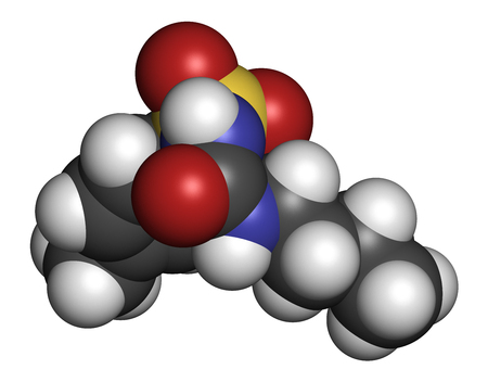 endocrinology: Tolbutamide diabetes drug molecule. 3D rendering. Atoms are represented as spheres with conventional color coding: hydrogen (white), carbon (grey), nitrogen (blue), oxygen (red), sulfur (yellow).