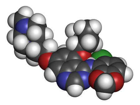 inhibitor: Saracatinib drug molecule. Dual kinase inhibitor, inhibiting both Src and Bcr-Abl tyrosine kinases. 3D rendering. Atoms are represented as spheres with conventional color coding: hydrogen (white), carbon (grey), nitrogen (blue), oxygen (red), chlorine (gr Stock Photo