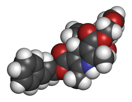 pharma: Cilnidipine hypertension drug molecule. 3D rendering. Atoms are represented as spheres with conventional color coding: hydrogen (white), carbon (grey), oxygen (red), nitrogen (blue).