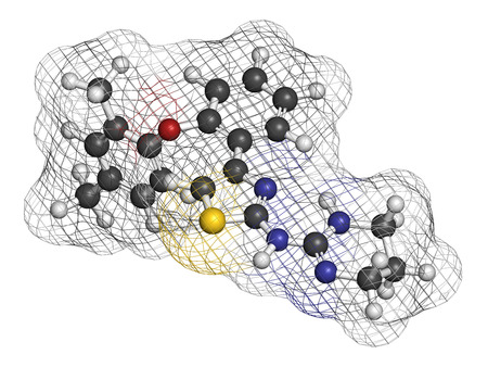 sulfur: Abafungin antifungal drug molecule. 3D rendering. Atoms are represented as spheres with conventional color coding: hydrogen (white), carbon (grey), nitrogen (blue), oxygen (red), sulfur (yellow).