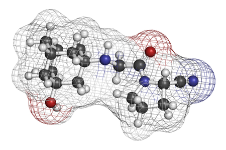 endocrinology: Vildagliptin diabetes drug molecule. 3D rendering. Atoms are represented as spheres with conventional color coding: hydrogen (white), carbon (grey), nitrogen (blue), oxygen (red).