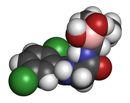 boron: Ixazomib multiple myeloma drug molecule. 3D rendering. Atoms are represented as spheres with conventional color coding: hydrogen (white), carbon (grey), oxygen (red), nitrogen (blue), chlorine (green), boron (pink). Stock Photo