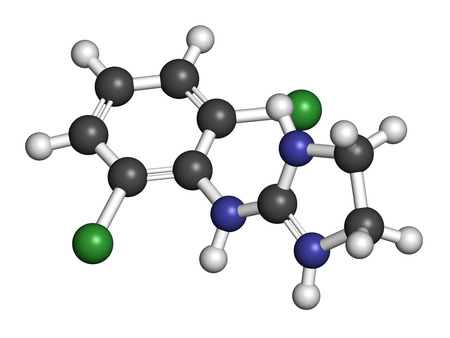 sedative: Clonidine drug molecule. Used in treatment of ADHD, hypertension, migraine, anxiety disorders, etc. 3D rendering. Atoms are represented as spheres with conventional color coding: hydrogen (white), carbon (grey), nitrogen (blue), chlorine (green). Stock Photo