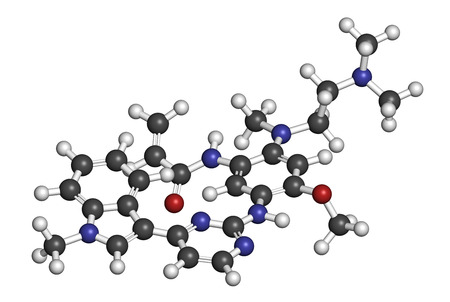 nitrogen: Osimertinib cancer drug molecule. 3D rendering. Atoms are represented as spheres with conventional color coding: hydrogen (white), carbon (grey), oxygen (red), nitrogen (blue). Stock Photo