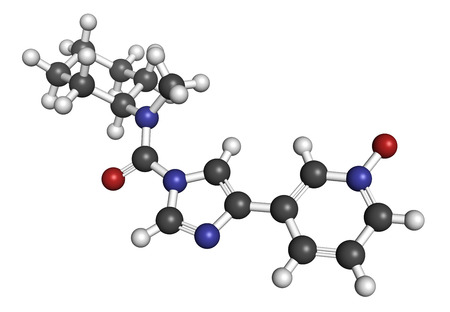 amide: BIA 10-2474 experimental drug molecule. Fatty acid amide hydrolase (FAAH) inhibitor that caused severe adverse events in a clinical trial in France in 2016. 3D rendering. Atoms are represented as spheres with conventional color coding: hydrogen (white), c