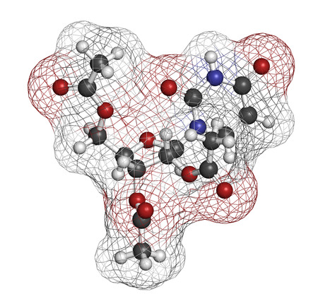 antidote: Uridine triacetate drug molecule. Used as antidote to treat chemotherapy overdoses. 3D rendering. Atoms are represented as spheres with conventional color coding: hydrogen (white), carbon (grey), nitrogen (blue), oxygen (red).