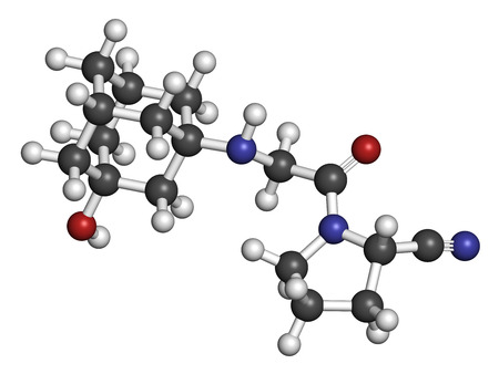 endocrinology: Vildagliptin diabetes drug molecule. 3D rendering. Atoms are represented as spheres with conventional color coding: hydrogen (white), carbon (grey), nitrogen (blue), oxygen (red).
