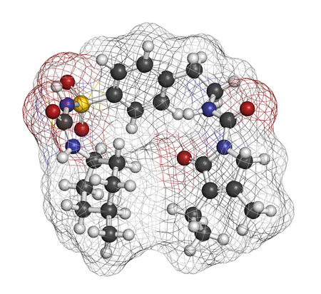 endocrinology: Glimepiride diabetes drug molecule. 3D rendering. Atoms are represented as spheres with conventional color coding: hydrogen (white), carbon (grey), nitrogen (blue), oxygen (red), sulfur (yellow). Stock Photo