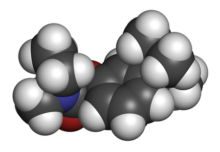 alzheimer's: Rivastigmine dementia drug molecule. 3D rendering. Atoms are represented as spheres with conventional color coding: hydrogen (white), carbon (grey), oxygen (red), nitrogen (blue). Stock Photo