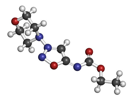 angina: Molsidomine angina drug molecule. 3D rendering. Atoms are represented as spheres with conventional color coding: hydrogen (white), carbon (grey), oxygen (red), nitrogen (blue).