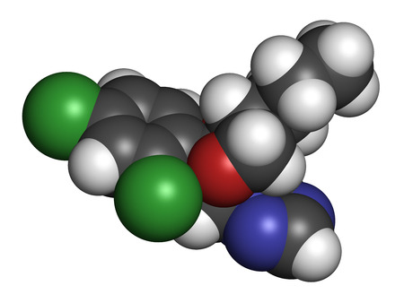 fungicide: Propiconazole fungicide molecule, used in agriculture for crop protection. 3D rendering. Atoms are represented as spheres with conventional color coding: hydrogen (white), carbon (grey), nitrogen (blue), oxygen (red), chlorine (green).