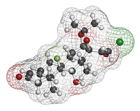 atrophy: Halcinonide topical corticosteroid drug molecule. 3D rendering. Atoms are represented as spheres with conventional color coding: hydrogen (white), carbon (grey), oxygen (red), chlorine (green), fluorine (light green). Stock Photo