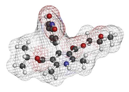 3d nitrogen: Nimodopine vasospasm drug molecule. 3D rendering. Atoms are represented as spheres with conventional color coding: hydrogen (white), carbon (grey), oxygen (red), nitrogen (blue).