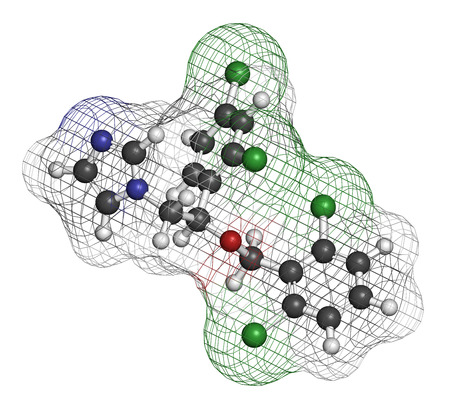 pharma: Isoconazole antifungal drug molecule. 3D rendering. Atoms are represented as spheres with conventional color coding: hydrogen (white), carbon (grey), nitrogen (blue), oxygen (red), chlorine (green).
