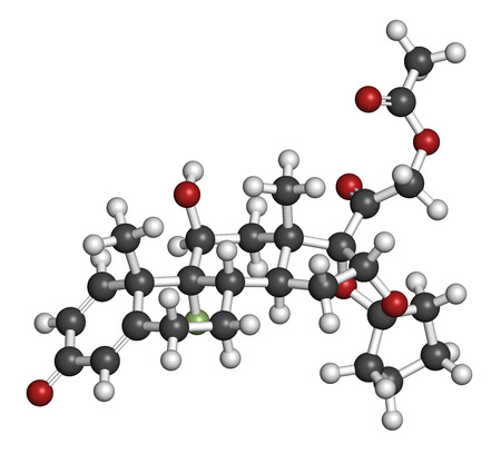 fluorine: Amcinonide topical corticosteroid drug molecule. 3D rendering. Atoms are represented as spheres with conventional color coding: hydrogen (white), carbon (grey), oxygen (red), fluorine (light green).