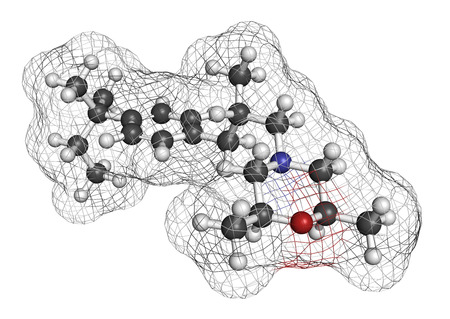 toenail: Amorolfine antifungal drug molecule. Commonly used in form of nail lacquer to treat onychomycosis. 3D rendering. Atoms are represented as spheres with conventional color coding: hydrogen (white), carbon (grey), nitrogen (blue), oxygen (red). Stock Photo