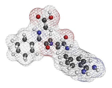 inhibitor: Melagatran anticoagulant drug molecule (direct thrombin inhibitor). 3D rendering. Atoms are represented as spheres with conventional color coding: hydrogen (white), carbon (grey), nitrogen (blue), oxygen (red), sulfur (yellow). Stock Photo