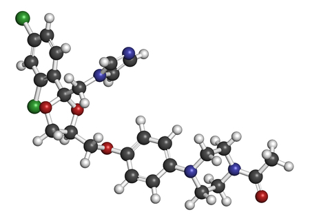 dandruff: Ketoconazole antifungal drug molecule. 3D rendering. Atoms are represented as spheres with conventional color coding: hydrogen (white), carbon (grey), nitrogen (blue), oxygen (red), chlorine (green). Stock Photo