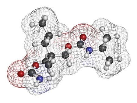 sedative: Carisoprodol drug molecule. 3D rendering. Atoms are represented as spheres with conventional color coding: hydrogen (white), carbon (grey), oxygen (red), nitrogen (blue).