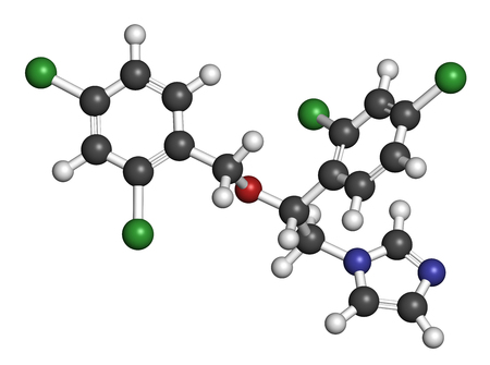 vaginal: Miconazole antifungal drug molecule. 3D rendering. Atoms are represented as spheres with conventional color coding: hydrogen (white), carbon (grey), nitrogen (blue), oxygen (red), chlorine (green). Stock Photo