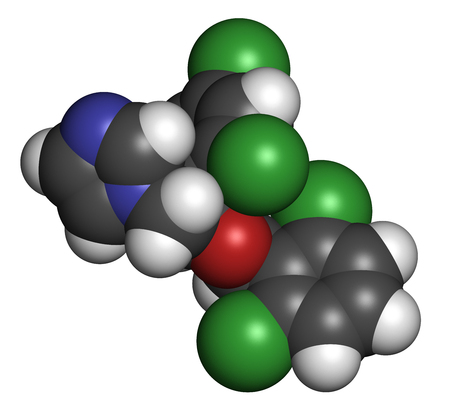 3d carbon: Isoconazole antifungal drug molecule. 3D rendering. Atoms are represented as spheres with conventional color coding: hydrogen (white), carbon (grey), nitrogen (blue), oxygen (red), chlorine (green).