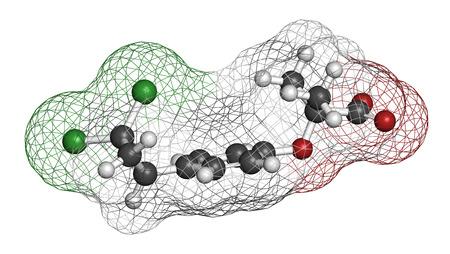 hidr�geno: mol�cula del f�rmaco hiperlipidemia ciprofibrato (clase de fibratos). representaci�n 3D. Los �tomos se representan como esferas con codificaci�n de colores convencionales: hidr�geno (blanco), carbono (gris), ox�geno (rojo), cloro (verde).