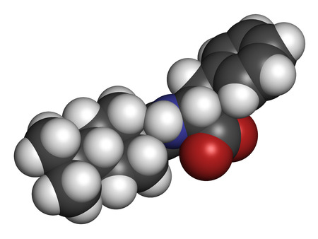 hydrogen: Nateglinide diabetes drug molecule. 3D rendering. Atoms are represented as spheres with conventional color coding: hydrogen (white), carbon (grey), nitrogen (blue), oxygen (red).