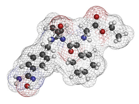 anticoagulant: Ximelagatran anticoagulant drug molecule (direct thrombin inhibitor). 3D rendering. Atoms are represented as spheres with conventional color coding: hydrogen (white), carbon (grey), nitrogen (blue), oxygen (red). Stock Photo