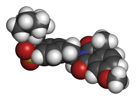 endocrinology: Gliquidone diabetes drug molecule. 3D rendering. Atoms are represented as spheres with conventional color coding: hydrogen (white), carbon (grey), nitrogen (blue), oxygen (red), sulfur (yellow).