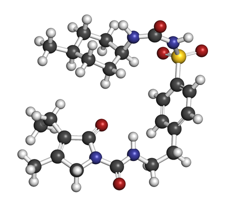 hydrogen: Glimepiride diabetes drug molecule. 3D rendering. Atoms are represented as spheres with conventional color coding: hydrogen (white), carbon (grey), nitrogen (blue), oxygen (red), sulfur (yellow). Stock Photo
