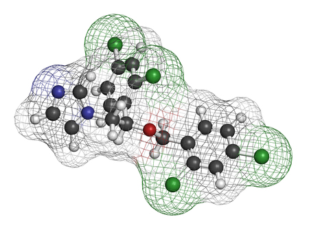 nitrogen: Miconazole antifungal drug molecule. 3D rendering. Atoms are represented as spheres with conventional color coding: hydrogen (white), carbon (grey), nitrogen (blue), oxygen (red), chlorine (green). Stock Photo