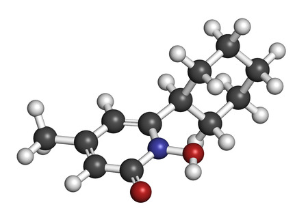 versicolor: Ciclopirox antifungal drug molecule. 3D rendering. Atoms are represented as spheres with conventional color coding: hydrogen (white), carbon (grey), nitrogen (blue), oxygen (red). Stock Photo