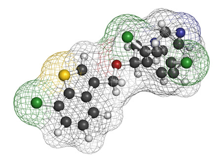 foot fungus: Sertaconazole antifungal drug molecule. 3D rendering. Atoms are represented as spheres with conventional color coding: hydrogen (white), carbon (grey), nitrogen (blue), oxygen (red), chlorine (green), sulfur (yellow).