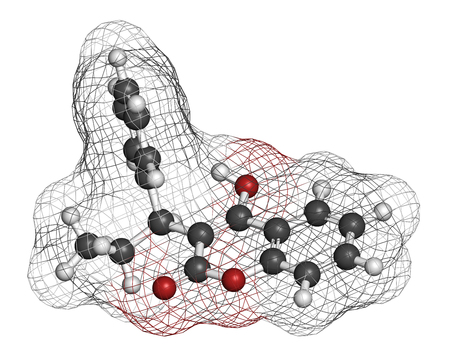 coagulation: Phenprocoumon anticoagulant drug molecule (vitamin K antagonist). 3D rendering. Atoms are represented as spheres with conventional color coding: hydrogen (white), carbon (grey), oxygen (red).