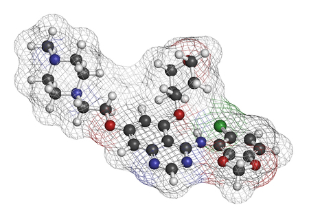 pharma: Saracatinib drug molecule. Dual kinase inhibitor, inhibiting both Src and Bcr-Abl tyrosine kinases. 3D rendering. Atoms are represented as spheres with conventional color coding: hydrogen (white), carbon (grey), nitrogen (blue), oxygen (red), chlorine (gr Stock Photo