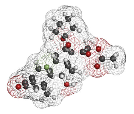 pharma: Amcinonide topical corticosteroid drug molecule. 3D rendering. Atoms are represented as spheres with conventional color coding: hydrogen (white), carbon (grey), oxygen (red), fluorine (light green).