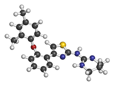 hydrogen: Abafungin antifungal drug molecule. 3D rendering. Atoms are represented as spheres with conventional color coding: hydrogen (white), carbon (grey), nitrogen (blue), oxygen (red), sulfur (yellow).