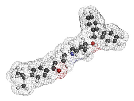hydrogen: Ebastine antihistamine drug molecule. 3D rendering. Atoms are represented as spheres with conventional color coding: hydrogen (white), carbon (grey), oxygen (red), nitrogen (blue).