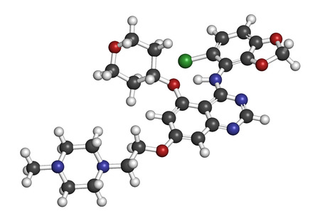 kinase: Saracatinib drug molecule. Dual kinase inhibitor, inhibiting both Src and Bcr-Abl tyrosine kinases. 3D rendering. Atoms are represented as spheres with conventional color coding: hydrogen (white), carbon (grey), nitrogen (blue), oxygen (red), chlorine (gr Stock Photo